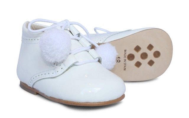 Girls White Patent Lace Boot with Pompoms