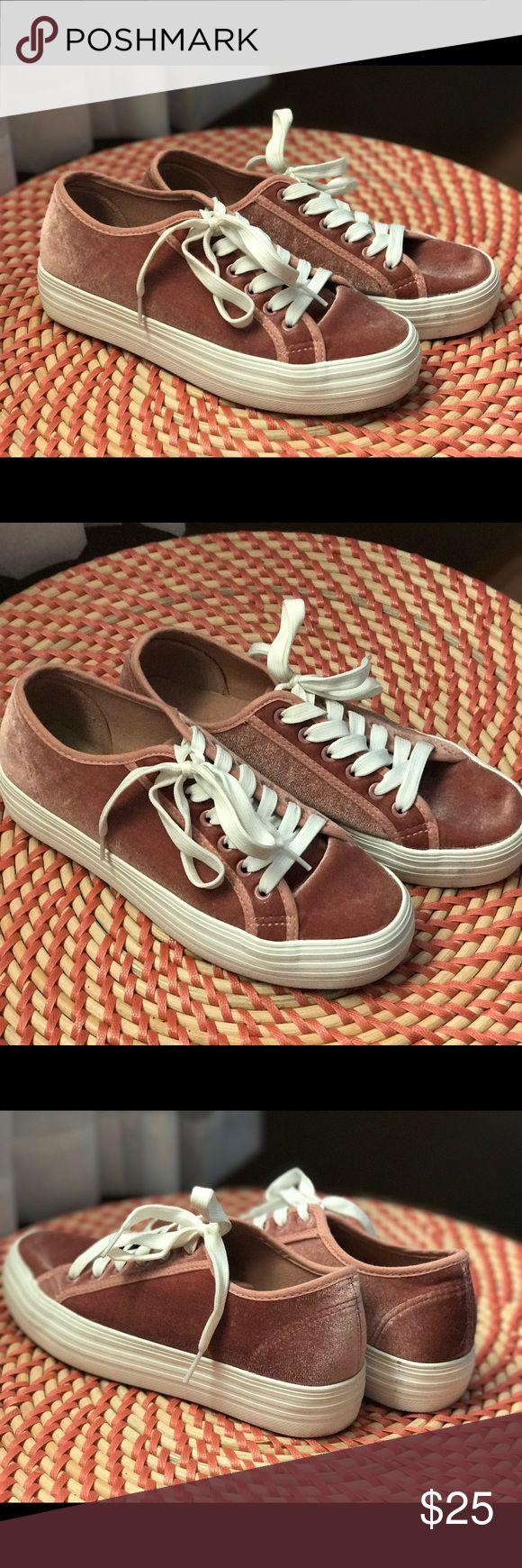 Pink Velvet Platform tennis shoes Pink velvet with white platform tennis shoes worn a few times runs like a 7.5 Shoes Platforms