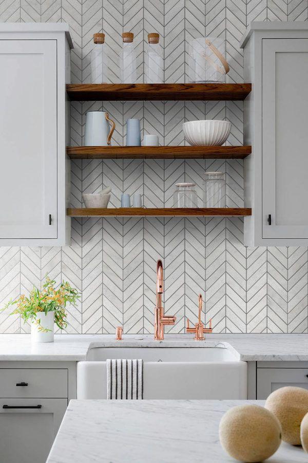 White Modern Marble Chevron Backsplash Tile Backsplash Com Modern Kitchen Backsplash Farmhouse Kitchen Backsplash Chevron Backsplash