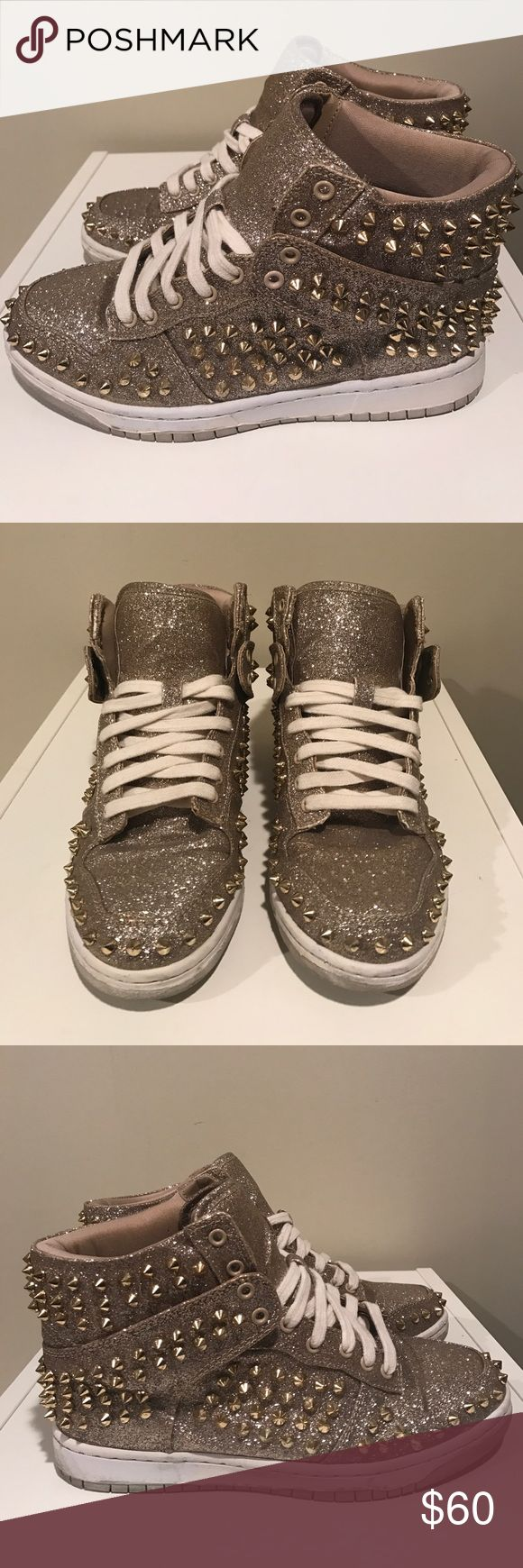 "STEVE MADDEN ""Shuffle S"" Gold Studded Sneakers These gold studded sneakers will be the star of the show!  They are extremely comfortable and add a statement to your outfit!  Worn once. EUC. No Trades. Steve Madden Shoes Sneakers"