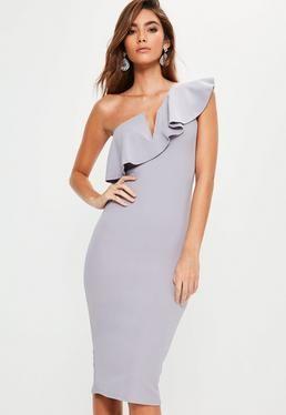 Grey One Shoulder Frill Midi Dress