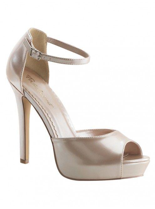 PLEASER - SANDALES LUMINA A BRIDE HAUT TALON CHAMPAGNE VERNIS   FOXY LADY  #mode #tendance #people #fashion #pleaser #sexy #chaussure #sandale #talonhaut #talonaiguille