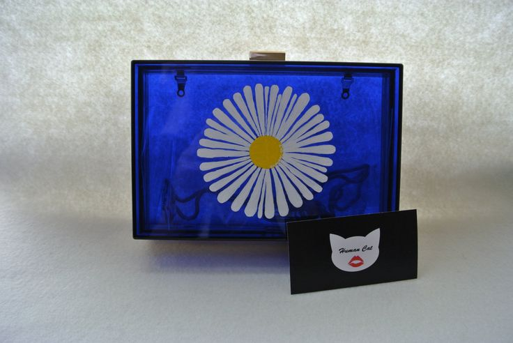 Handmade Small Clear Royal Blue Spring Camomile Flower Pop Art, Plastic, acrylic perspex transparent box clutch, evening bag, shoulder bag  #humancat #handmade #clutch