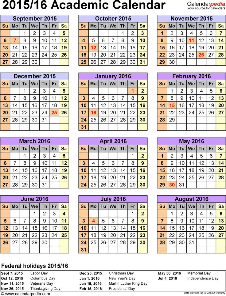 Template 5: Academic calendar 2015/16 for Excel, portrait, 1 page, year overview