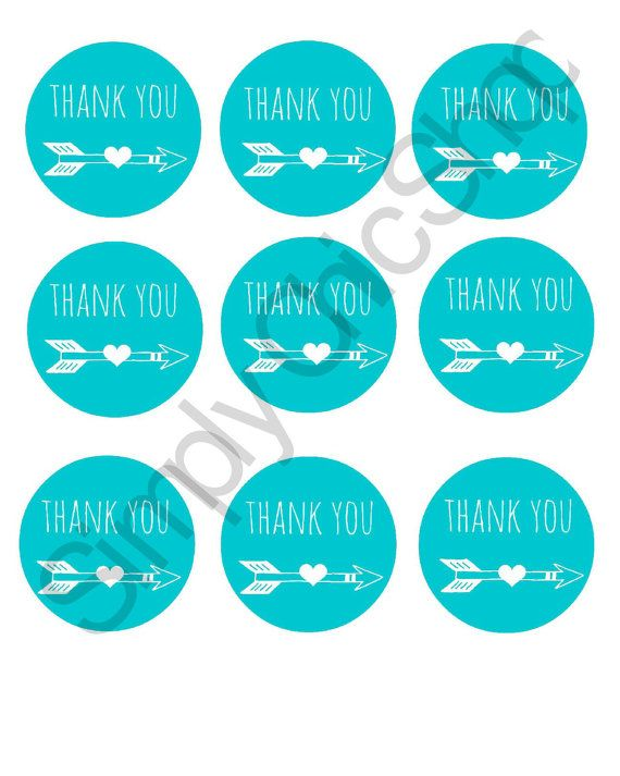 INSTANT DOWNLOAD Teal Thank You Arrow Tags, Scrapbooking, Arrow Printables by TheSimplyChicShop