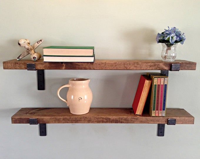 Wood Floating Shelves 3 Inches Thick 10 Inch Deep Rustic Etsy Floating Shelves Wood Floating Shelves Shelves