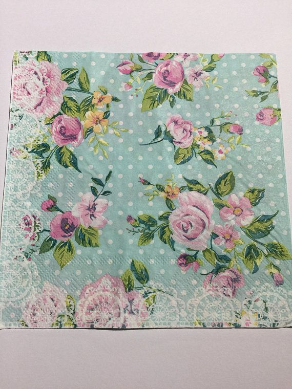 PACK OF 4 VINTAGE BLUE WITH PINK FLOWER DESIGN COTTON NAPKINS