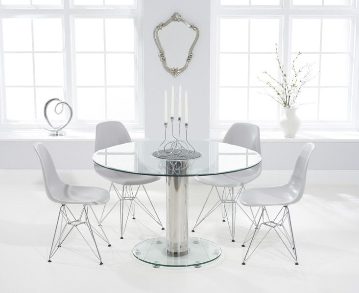 sofia 120cm round glass dining table with dsr chairs