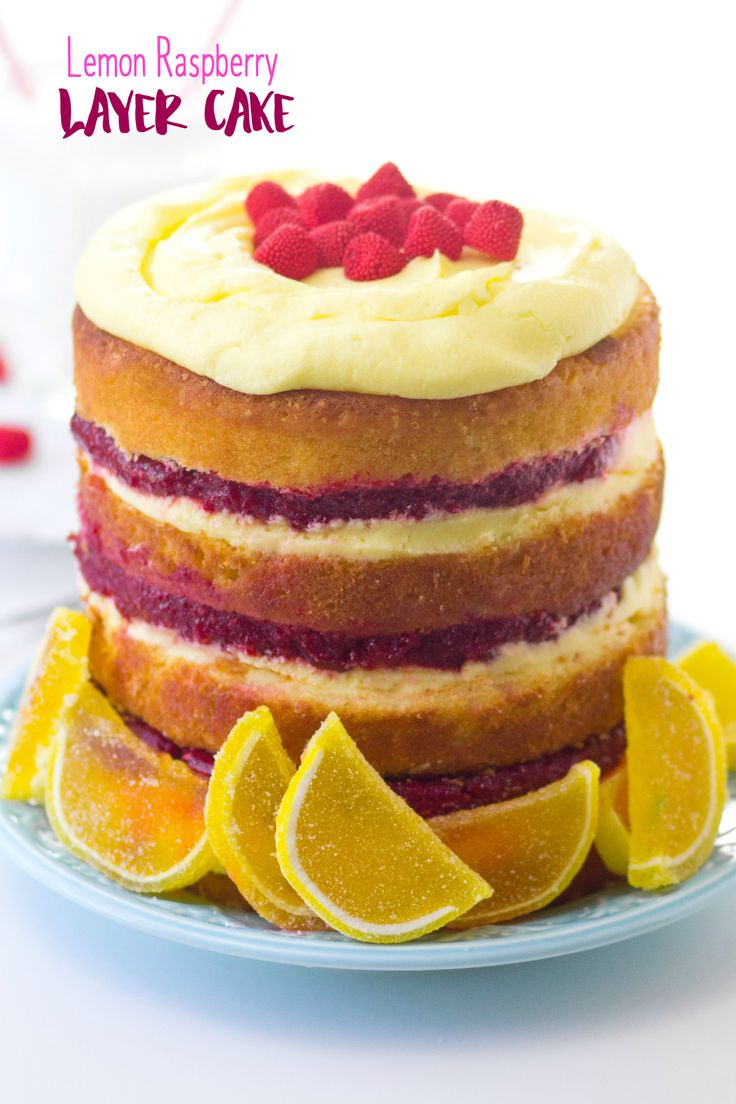 """Lemon Raspberry Layer Cake is like a giant plate of sunshine. Tart, sweet, and brightly colored, it's the perfect Summer cake. Do you know how when you have a two year old and it's awful and you call it the """"Terrible Twos""""? And then people tell you to just wait because the Threes are even worse? Well, they are telling the truth. I was a doubter of this for quite some time. But here we are, 6 months into the Threenage Years, and I am eating all the feelings and drinking all the wine. If you…"""