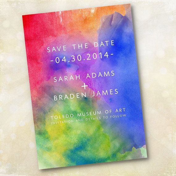 Wedding Invitation or Save the Date - Modern Vibrant Watercolor - Design Fee via Etsy