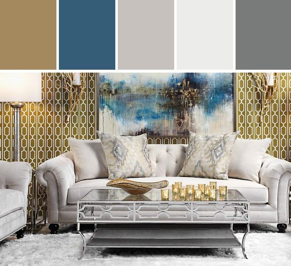 Beautiful Gold Room With Geometric Wallpaper And Neutral Sofa