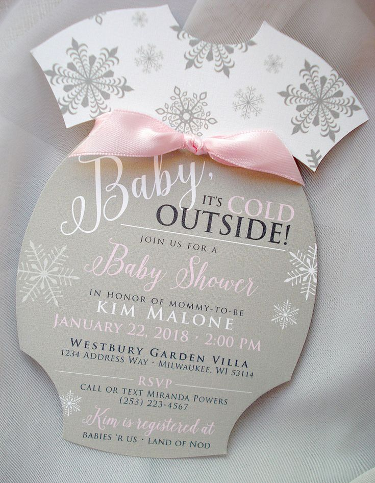 Baby Itu0027s Cold Outside Hand Cut Onesie Diaper Winter Wonderland Sprinkle  Gray Pink Blue Silver Snowflake Baby Shower Invitation Set   Sample