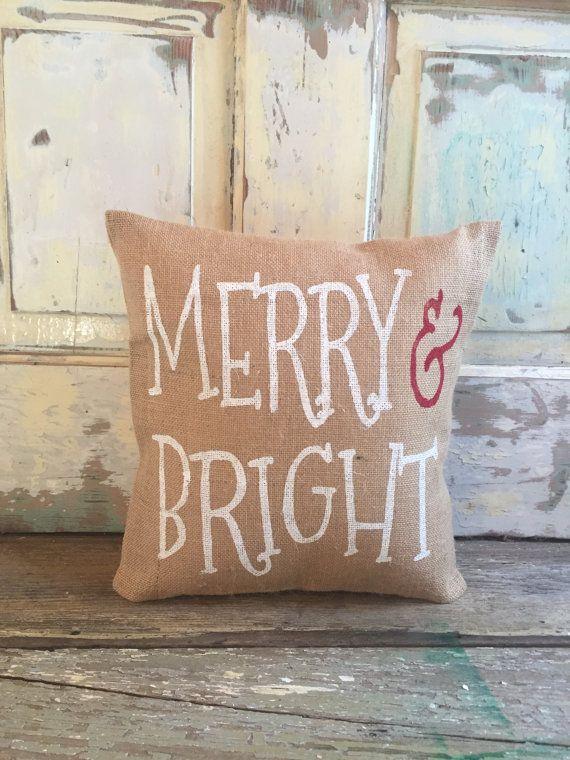 Christmas Burlap Pillow  Merry & Bright pillow by TwoPeachesDesign