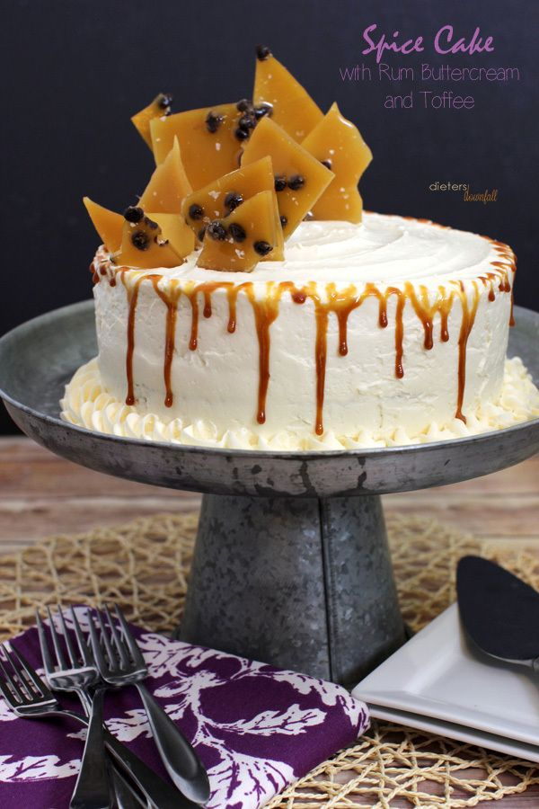Decadent Nutmeg Spice Cake with Rum Buttercream and Toffee Shards. from #DietersDownfall