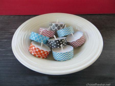 Velas pequeñas decoradas con washi tape