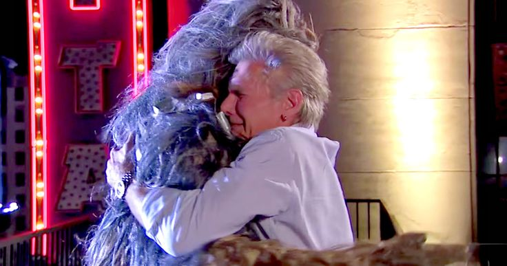 Watch Harrison Ford & Chewbacca End Their Feud on 'Jimmy Kimmel Live' -- Harrison Ford and Chewbacca finally set aside their past differences during an appearance on 'Jimmy Kimmel Live' last night. -- http://movieweb.com/star-wars-harrison-ford-chewbacca-feud-jimmy-kimmel/