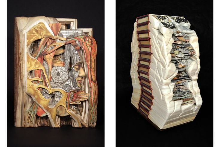 """Left: In """"Absolute Authority"""" (2011), Dettmer shows a medical textbook from the 1930s as a body full of blood and muscle: in its own way, a living document. Right: In """"Totem"""" (2010), a stack of encyclopedias resembles a totem pole, an object we can appreciate as much for its beauty as for its function as a tool of communication.  """"Absolute Authority"""" courtesy of the artist and Wexler Gallery. """"Totem"""" courtesy of the artist and MiTO Gallery."""