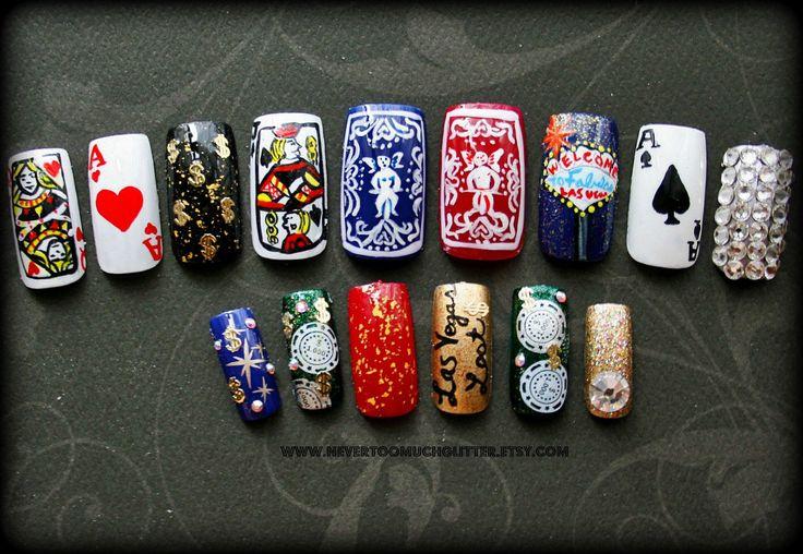 Fake Nails- Viva Las Vegas Handpainted Nail Art by NeverTooMuchGlitter on Etsy https://www.etsy.com/listing/156668557/fake-nails-viva-las-vegas-handpainted