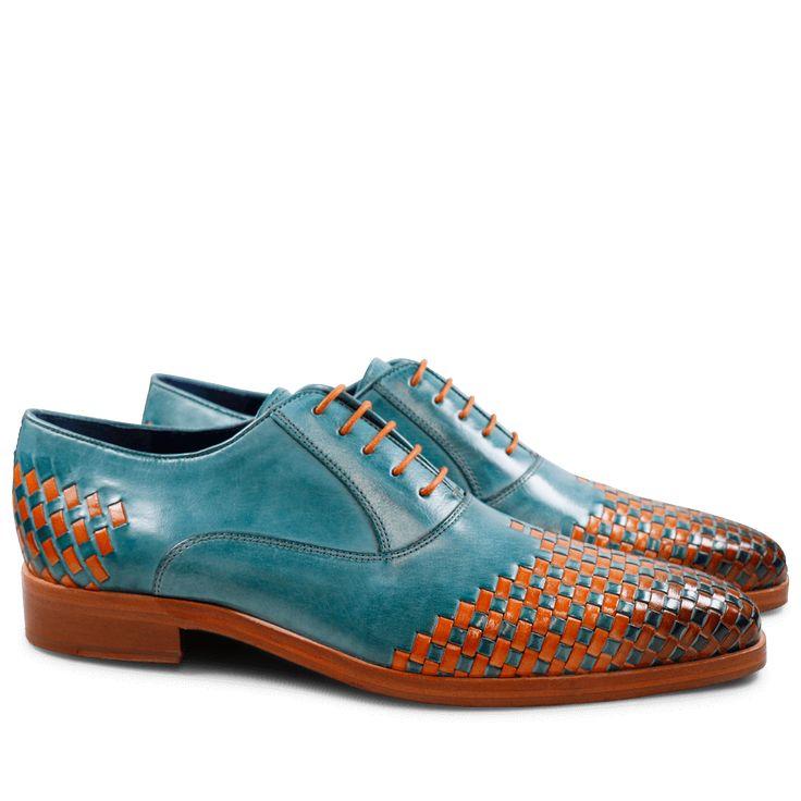Oxford Schuhe Lewis 17 Classic Turquoise Interlaced Arancio LS Natural