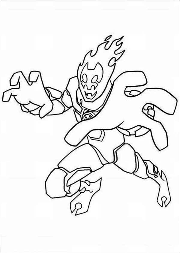 Ben 10 Heatblast In Ben 10 Omniverse Coloring Page Online
