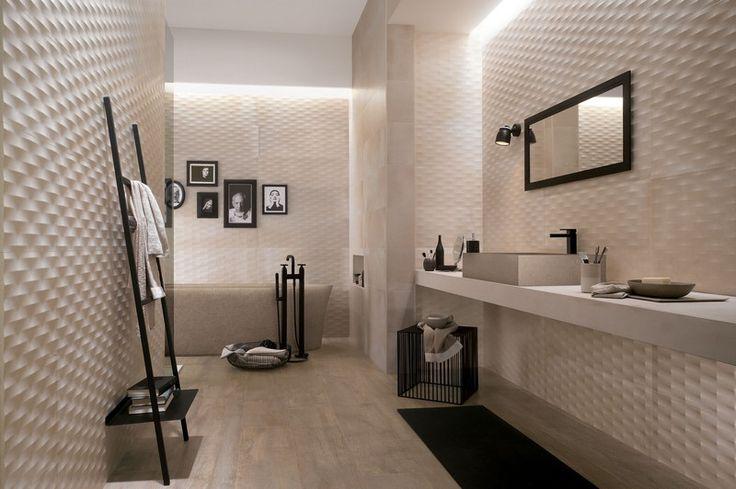 Mattierte Badezimmer Fliesen mit dreidimensionaler Optik