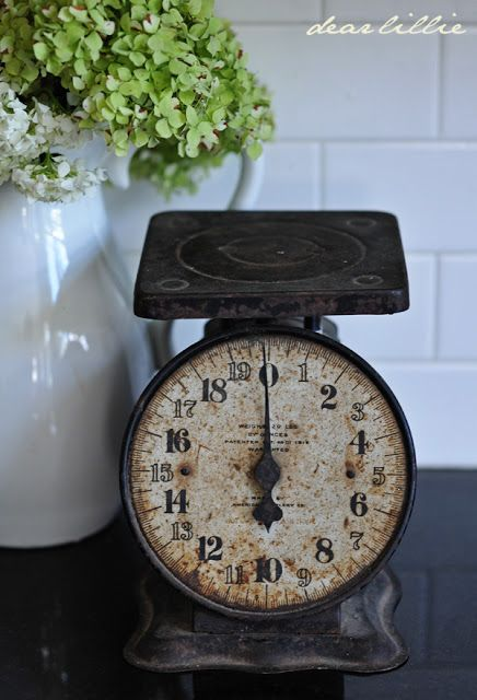 Vintage Scale. Even rusty they have plenty of charm and will add some Shabby Chic look to any kitchen! #LaBoutiqueVintage