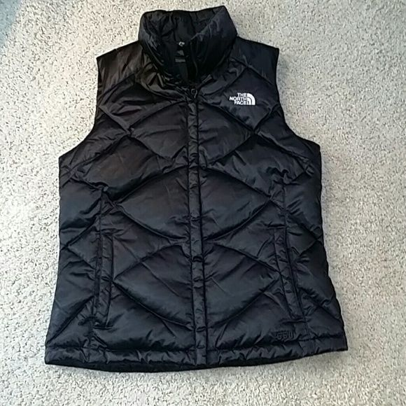 The north face down vest new black 550 The north face down 550 fill black vest women's size medium.  Worn once, washed once and hung dry. Smoke and cat free home. The North Face Jackets & Coats Vests