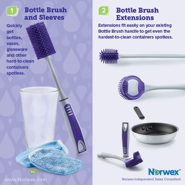 Norwex (1) Bottle Brush and Sleeves, (2) Bottle Brush Extensions. For Facebook parties, online events and marketing.