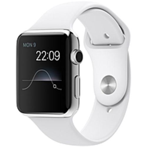 Apple Watch Smart Watch - Wrist - Optical Heart Rate Sensor, Accelerometer, Gyro Sensor, Ambient Light Sensor - Bluetooth - Bluetooth 4.0 - Wireless LAN - IEEE 802.11b/g/n - 18 Hour - 1.65 - 0.41 - 1.41 - White - Stainless Steel Case - Health & Fitne