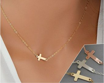 Halskette-seitwärts kreuz – Etsy DE