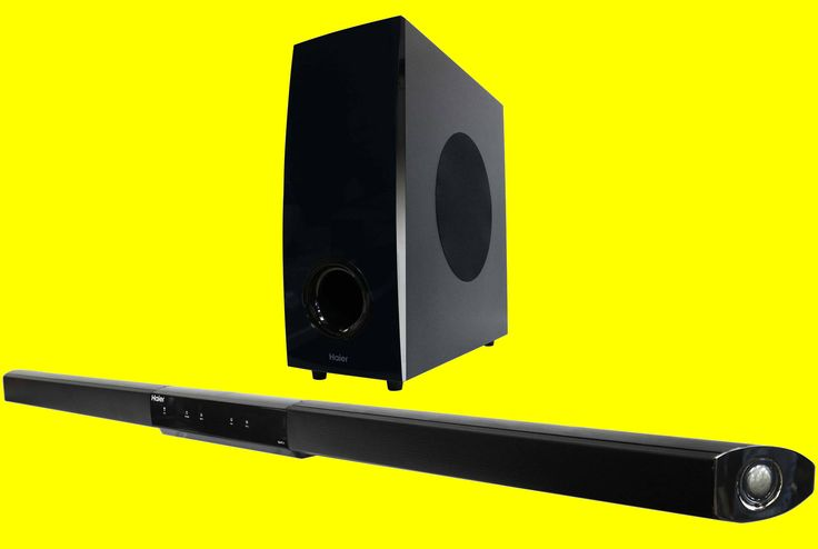 """This Haier 40"""" Sound Bar is designed to fit below a flat screen TV without blocking any remote control sensors on the TV. It is Bluetooth 3.0 compatible and has optical, coaxial and auxiliary input. 40W sound bar including two dedicated tweeters, a mid-range in addition to a wireless 50W subwoofer. $129.99"""