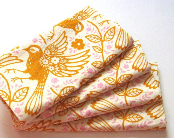 Large Cloth Napkins  Set of 4  Orange Birds Floral by ClearSkyHome