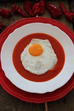 Cream of Roasted Peppers #Soup with Fried Egg