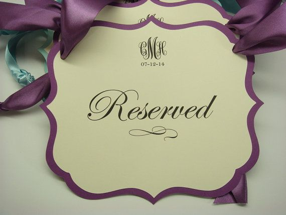 Wedding Ceremony Reserved Seating Pew or Chair Signs Prepared in Colors of  your Wedding Color Palette