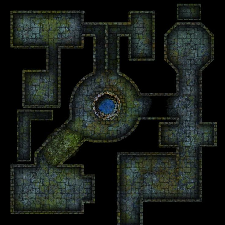 A first concept for a small dungeon. Dungeons and Dragons style map for online DnD session.