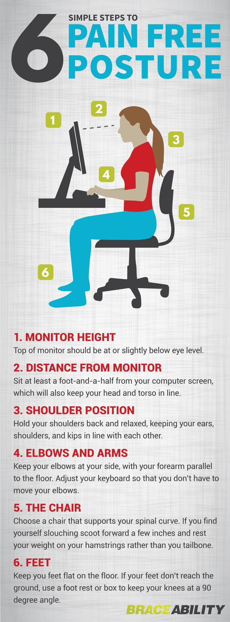 Is work making your posture suck? Hunching over at your desk for multiple hours a day can have numerous negative health effects on your body including stress, poor digestion, back pain, & headaches. Here are 6 simple steps to change your sitting position & improve your posture. | BraceAbility