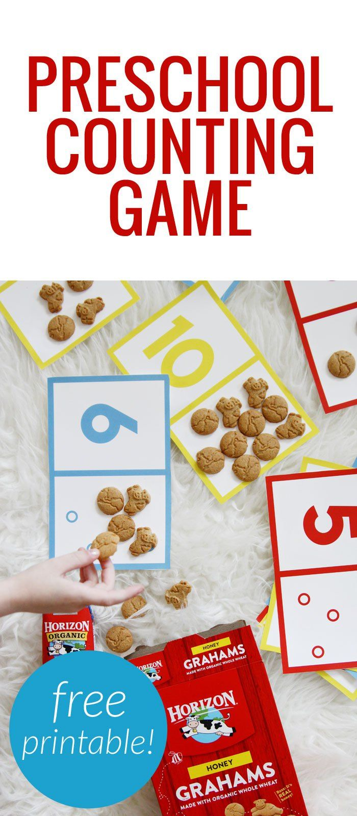 Preschool counting game - cut and print out the cards and have kids count the dots with snacks and recognize numbers! #HorizonOrganic…