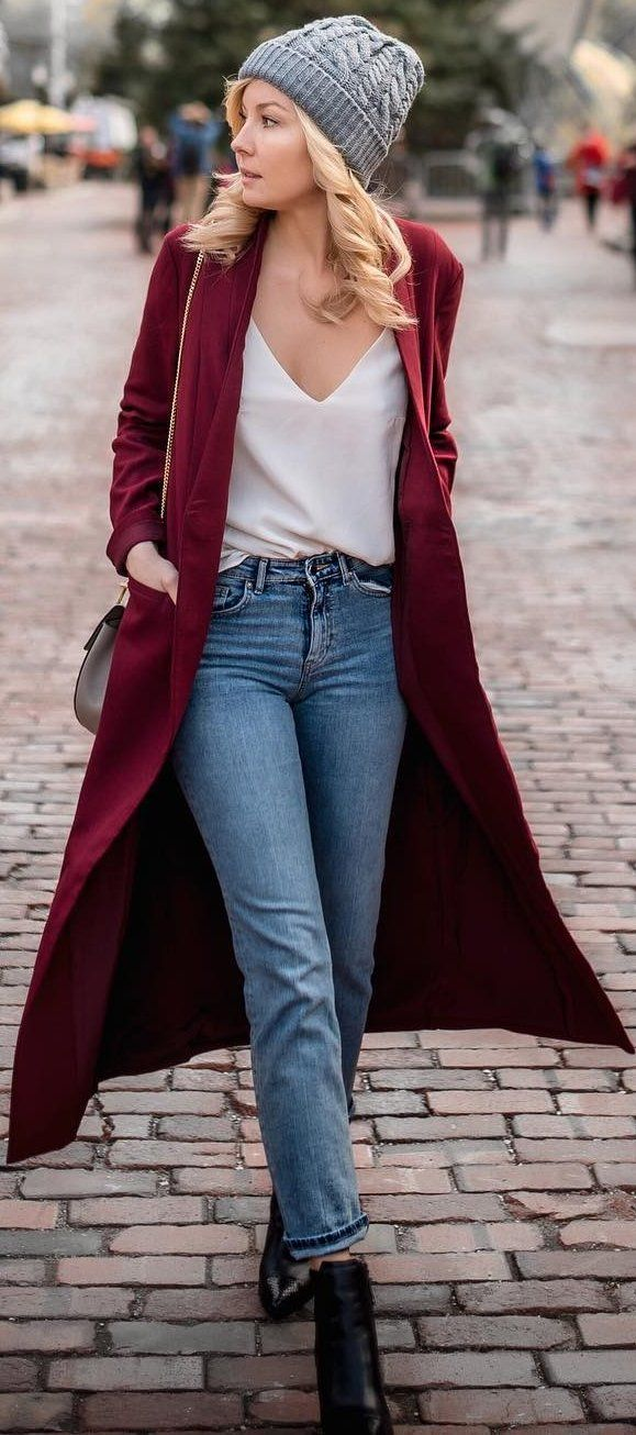 #fall #outfits Red Coat // White V-neck Sheer Blouse // Jeans // Black Leather Booties
