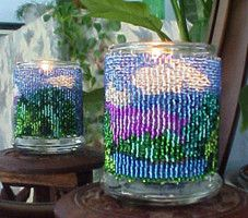 Beaded Mountain View Candle Holder!Candle Holders, Candles Holders, Beads Projects, Beads Pattern, View Candles, Full Colors, Step, Beads Candles, Beads Mountain