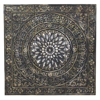 Features:  -Material: Metal.  -Antique bronze finish.  -Embossed floral designs…