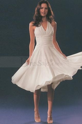 Halter Chiffon Made Knee Length Bridesmaid Gowns