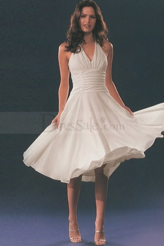 Halter Chiffon Made Knee Length Bridesmaid Gowns
