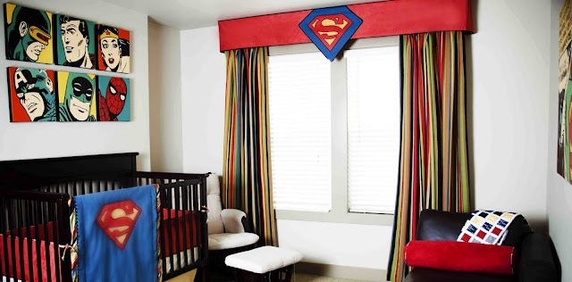 superheroes nursery. change it up a little for Rocco's room. love the flat valance above the window (maybe do in black with the bat symbol?) and the retor art above the bed...