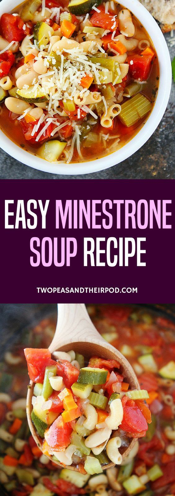 Easy Minestrone Soup-this classic Italian soup is a family favorite! Enjoy it for lunch or dinner!  ~ Two Peas and Their Pod