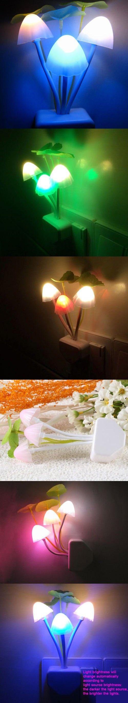 Sensor Night Light Mushroom LED Lamp EU/US Plug Romantic Colorful Home Decor