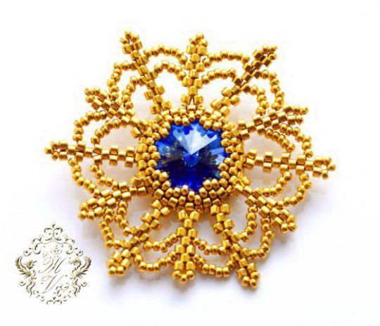 Free tutorial for beautiful beaded snowflake with rivoli Swarovski. U can use it like ornament or pendant .   U need: rivoli 14 mm delica 11/0 seed beads 15/0   At first bezel rivoli with 36 seed bead