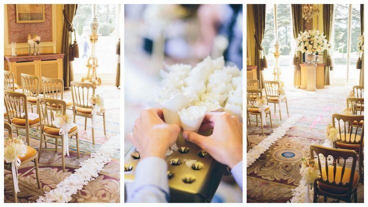 wedding gold confetti, white rose petals