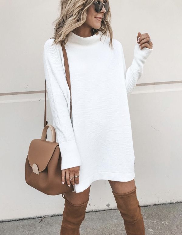 21+ Winter Outfits To Copy ASAP: White sweater dress with tan over the knee boot... 7