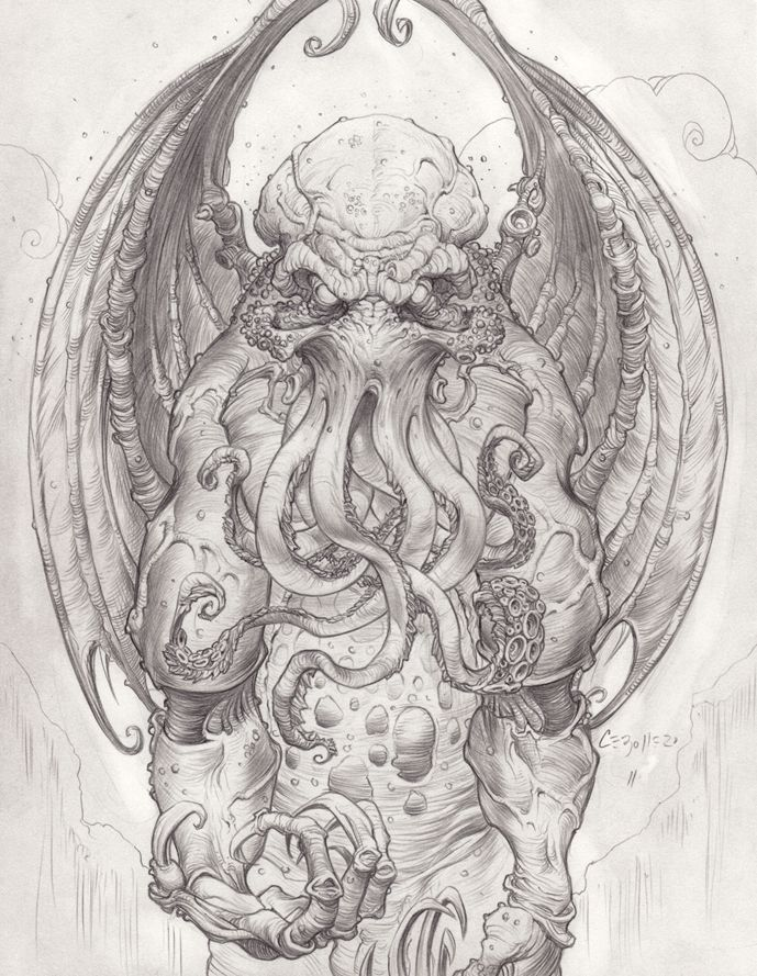 171 best images about monsters zombies witches for Cthulhu coloring pages