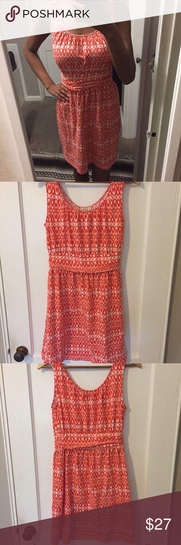 "Loft Orange Printed Dress In Great Condition 95% Cotton 5% Spandex Bust:14"" Length: 35"" LOFT Dresses"